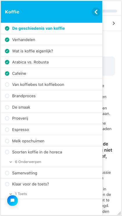 Demonstratie van E-learning op een smartphone - cursus koffie bij Blue C menustructuur